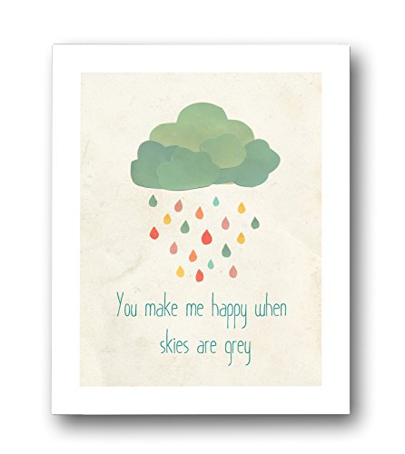 "Kid's Wall Art ""When Skies Are Grey"" 11x14 Print for Boys, Girls or Baby's Room, Nature Themed Nursery Decor, Gender Neutral"