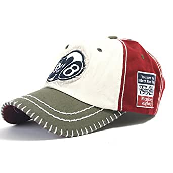 ililily Two-tone Vintage Monkey Character Patched Big Stitch Baseball Cap Precurved Bill with Adjustable Strap Snapback Trucker Hat (ballcap-577-3)