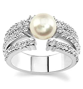 18k White Gold or Yellow Gold Fresh Water Pearl and Diamond Ring (H/SI2, 3/4 ct. tw.)