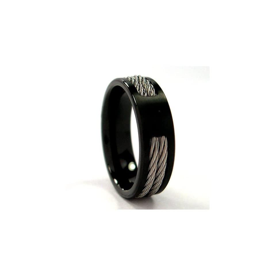 Titanium Band with Black Cable Size 9.5