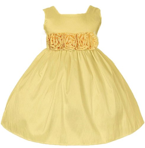 Sweet Kids Baby-Girls Slvless Dress Flw Waistband 12M Med Yellow (Sk B3047)