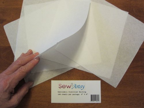 "Tear Away Machine Embroidery Stabilizer Backing Supplies Precut Sheets 8""X8"" Fits 4X4 Hoops Superior Quality - 100 Sheets Per Pack - Sewing Stabilizers"