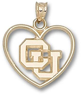 Colorado Buffaloes CU Heart Pendant - 14KT Gold Jewelry by Logo Art