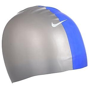 Nike - Geformte Badekappe - Silikon - Silberfarben/Blau - Einheitsgröße
