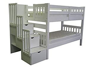 Bedz King Stairway Bunk Twin over Twin Bed with 3 Drawers in the Steps, White