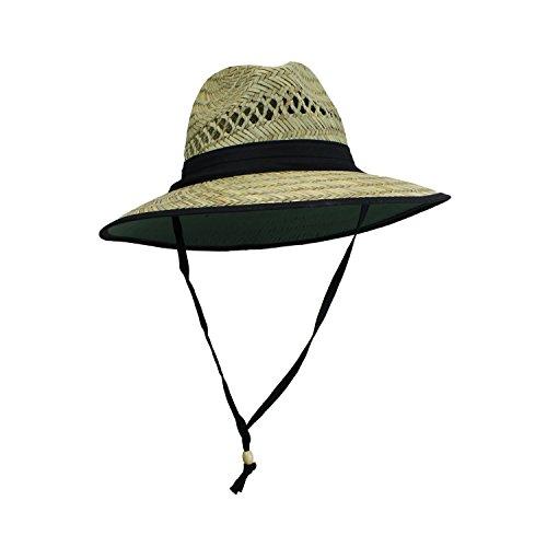 [Mens UPF 50 Wide Brim Natural Straw Lifeguard Outback Sun Hat] (Straw Farmer Hats)