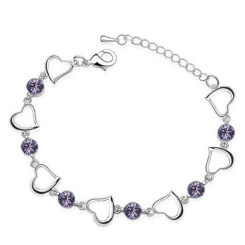 White Gold Plated Hearts Crystals Bracelet -