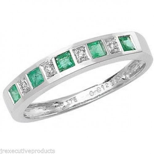 White Gold Real Emerald & Diamond Half Eternity Ring (available in sizes G - Z)