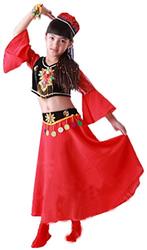 Chinese Children Sinkiang Dance Dress National Costumes