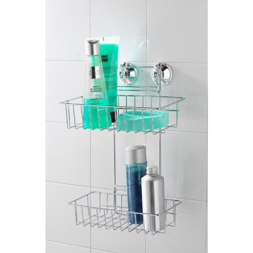 2 Tier Strong Suction Cup Chrome Shower Caddy