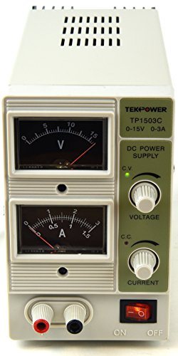 Tekpower 15V @ 3A Linear DC Power Supply, TP1503C, Analog Display with alligator Banana Connector Cable (Dc Variable Power Supply compare prices)