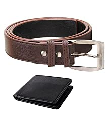 Kesari's Black & Brown Coloured Leather Combo Of Belt & Wallet For Men