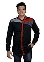Zedx Men's Solid Casual Black Shirt with fashion Style Red Strip.