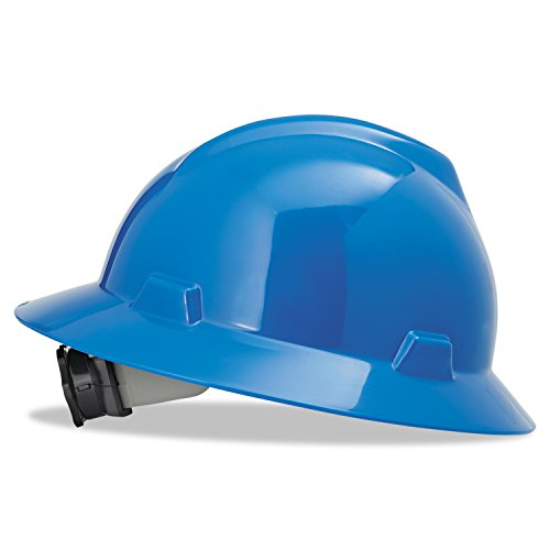 MSA V-Gard Full Brim Hard Hat With Fas-Trac Suspension - Color: Blue (Msa Hard Hat Full Brim compare prices)