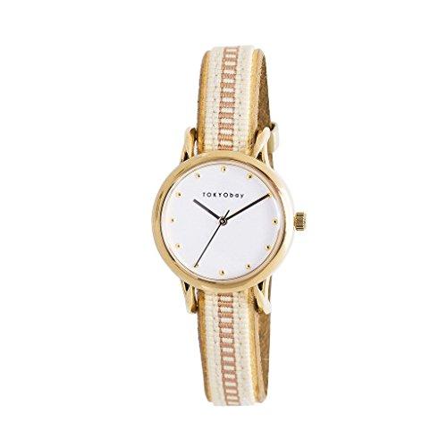 tokyobay-t623-be-da-donna-in-acciaio-inox-beige-nylon-banda-quadrante-bianco-smart-watch