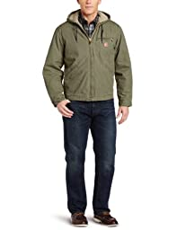 Carhartt Men\'s Big & Tall Sherpa Lined Sandstone Sierra Jacket J141,Army Green,XXXX-Large
