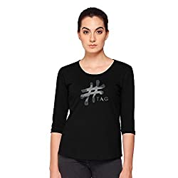 Hash-Tag-Women's-T-Shirt-Round-Neck-3/4th-Sleeve-Black