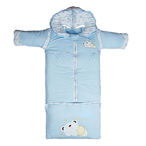Dehang Baby Newborn Swaddle Wrap Warm Sleeping Bag Blanket Baby Horn Size M-Blue