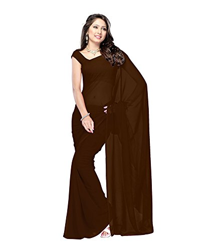 Lovely Look Latest collection of Plain Sarees in Georgette Fabric & in attractive Brown Color