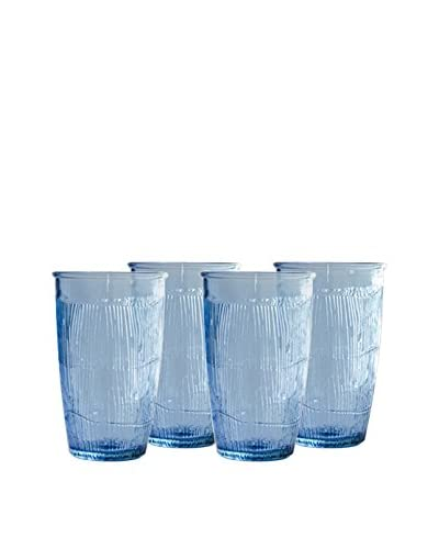 French Home Set of 4 10-Oz. Birch Tumblers, Sapphire Blue
