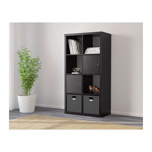 ikea kallax shelving units insert with door black brown ebay. Black Bedroom Furniture Sets. Home Design Ideas