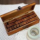Wooden Rubber Stamp Box – Vintage Print Style – Capital Alphabet Stamp and Number Stamp – 42 Pcs Letter and Number Stamp Set