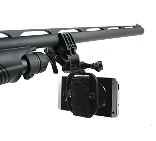 Action-Mount-Multi-Purpose-Sportsmans-Mount-for-Any-Smartphone-Clamp-Attaches-to-Sports-Fishing-Rod-Bow-Shotgun-Rifle-Paintball-and-More-Includes-Universal-Mount-Adapter-Operable-with-Any-Phone-Strong