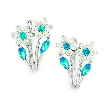 14ct White Gold Decmbr Birthstone Blue CZ 2-flowers Leaf Leverback Earrings - Measures 16x10mm