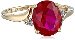 10k Yellow Gold Created Ruby and Diamond Accent Ring, Size 7 from The Aaron Group - HK DI