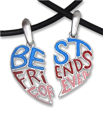 Pewter Pink, Blue & Red Hearts Best Friends Necklace