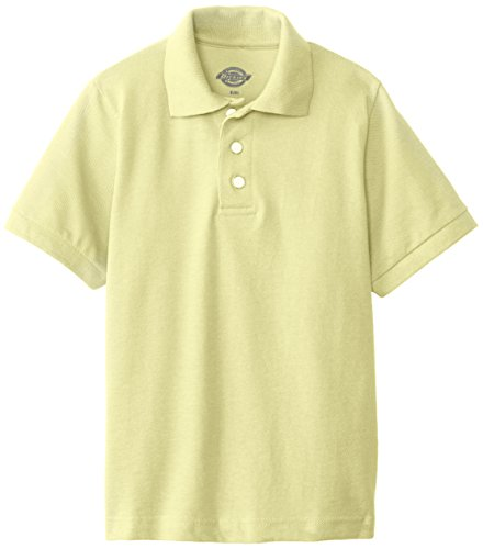 Dickies Big Boys' Short Sleeve Pique Polo Shirt, Yellow, Medium