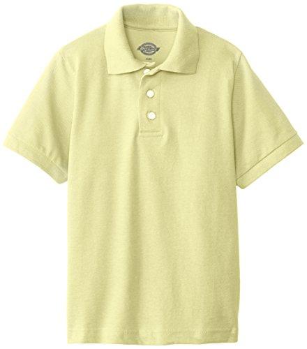 Dickies Big Boys' Short Sleeve Pique Polo Shirt, Yellow, Medium