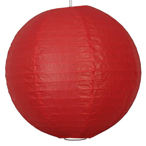 1 x 12 rote runde papier laterne mit draht verrippung - Gartendeko chinesisch ...
