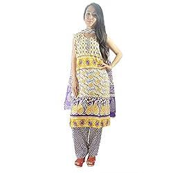 ShopMore Printed Salwar Suit(L,Violet)