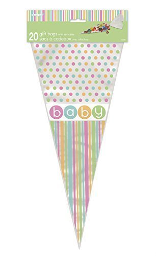 Baby Shower Party Stuff 4U Pastel Baby Shower Cone Cello Bags Pack Of 20
