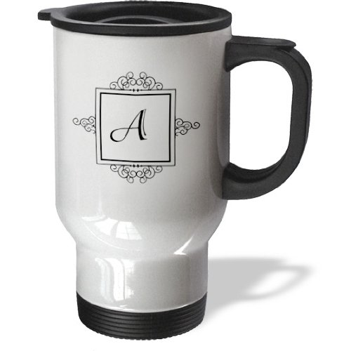 Tm_154324_1 Inspirationzstore Monograms - Initial Letter A Personal Monogrammed Fancy Black And White Typography Elegant Stylish Personalized - Travel Mug - 14Oz Stainless Steel Travel Mug