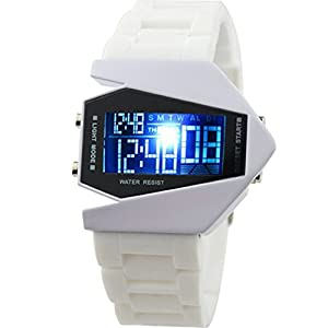 Cool Men's Oversized Light Digital Sports Quartz RUBBER Wrist Watches White