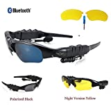 Bluelotus® Hifi Stereo Bluetooth Headset Car Sport Bluetooth Sunglasses (Polarized black lenses) for Car Driver, Cyclist, Runner, Hiker etc. Compatible with iphone6 iPhone 6 Plus HTC Samsung BlackBerry+1 Free Pair of Night-vision Yellow Lens+ 1 Tiny Scre