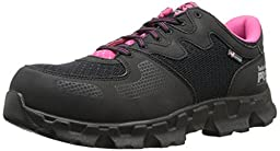 Timberland PRO Women\'s Powertrain Alloy Toe ESD W Industrial Shoe,Black/Pink Microfiber And Textile,9.5 M US