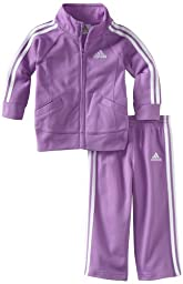 Adidas Baby Girls\' Iconic Tricot Jacket and Pant Set, Purple Basic, 9 Months