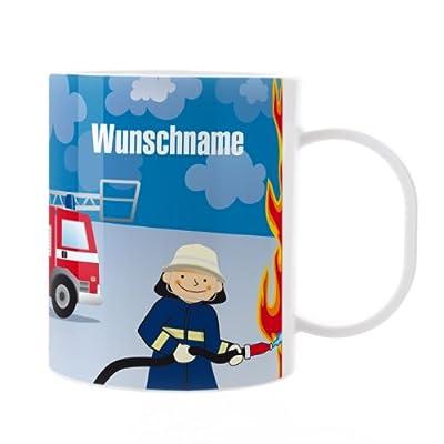 Striefchen® Kinder Tasse aus Melamin mit Wunschame - Motiv: Feuerwehrmann
