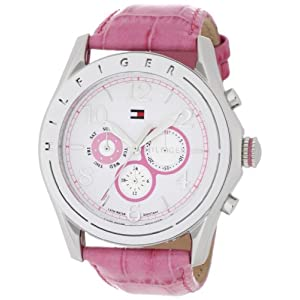 Tommy Hilfiger Women's 1781055 Sport White Dial with Pink Croco Embossed Strap Subdial Watch