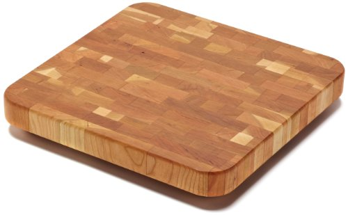 Snow River Cherry End Grain Cutting Board with Hardwood Feet, 12-Inch by 12-Inch by 1-1/4-Inch