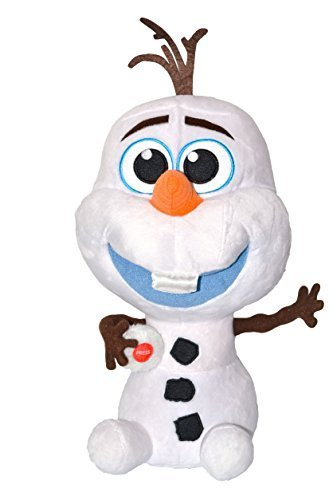 "Disney Frozen Press Button Plush Olaf ""Baby"" Snowman Saying ""I Love You"". Total 14"" Tall. Japan Import. - 1"
