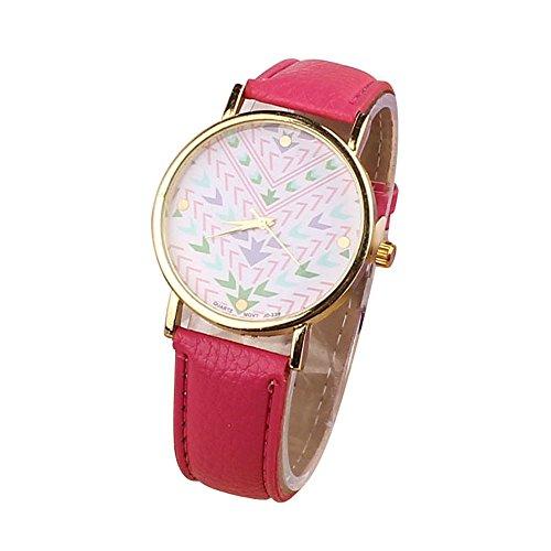 Zps(Tm) Fashion Quartz Aztec Tribal Pattern Leather Wrist Watch(Hot Pink)