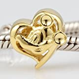 Everbling Love Mouse Like Mickey Heart Authentic 925 Sterling Silver Charm Fits Pandora Chamilia Biagi Troll Beads Europen Style Bracelets