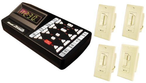 WC-6070-00 Kit, Includes One Ivory Wireless 3-Way Wall Switch Transmitter, Three Ivory Remote Controlled Dimmable Wall Switches and Black Desktop Controller