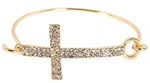 Gold with Clear Iced Out Cross Metal Bangle Bracelet