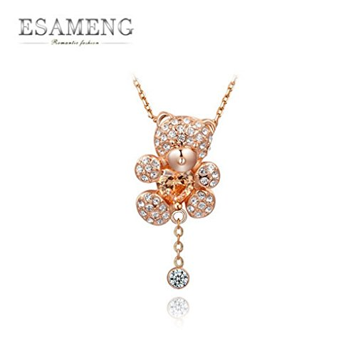 [SOOZ_SOOZ :Necklaces Pendants New Rose Gold Plated Women Necklace Austrian Crystal Cute Bear Necklace] (Bear Jew Costume)