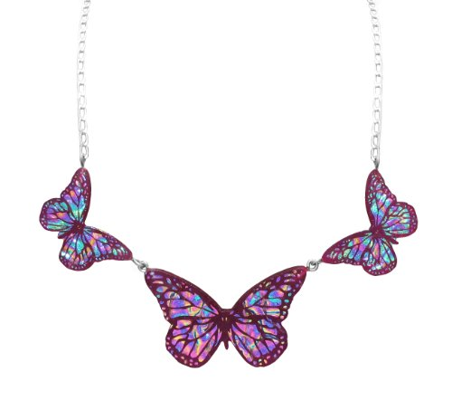 Sterling Silver Dichroic Glass Multi-Color 3 Butterflies Necklace, 17